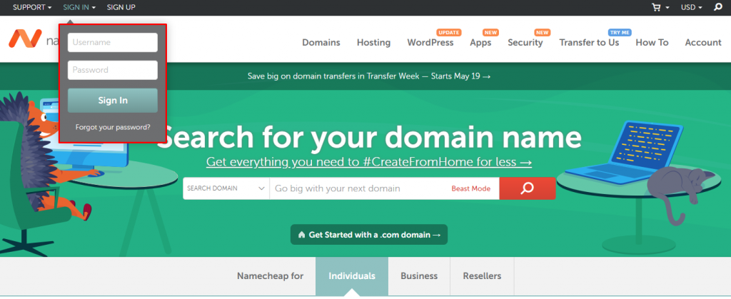 Log in to Namecheap