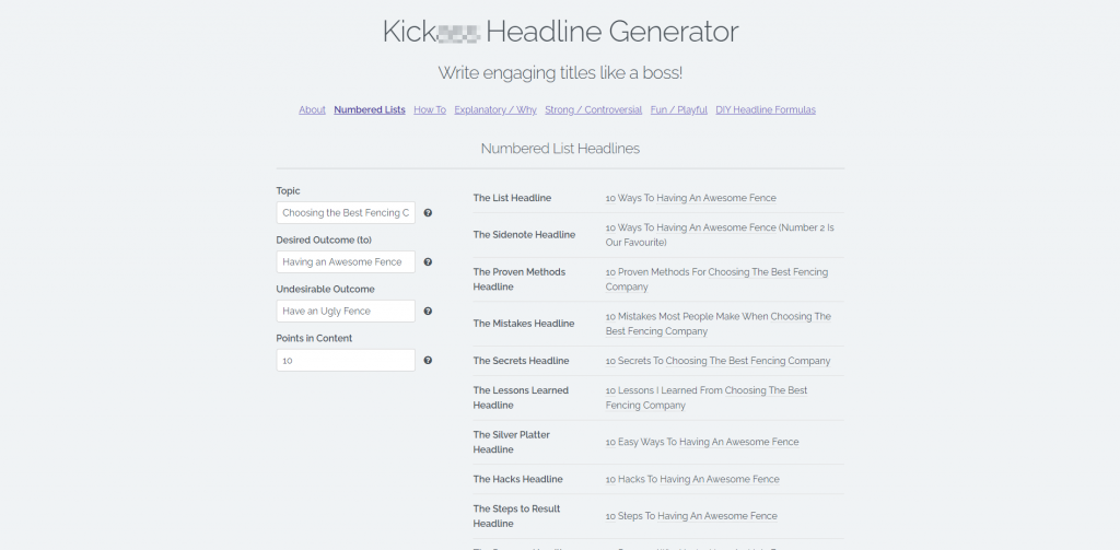 Kickbutt Headline Generator